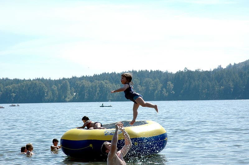 baby on water trampoline