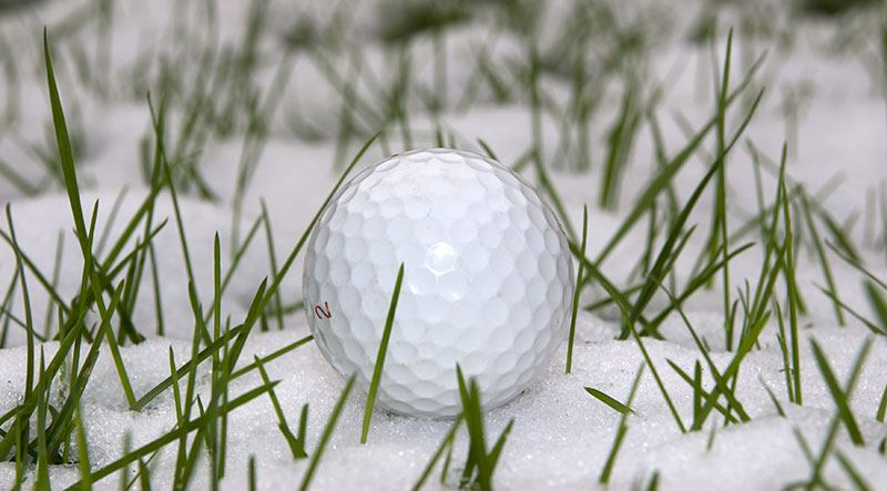 golf balls in snow